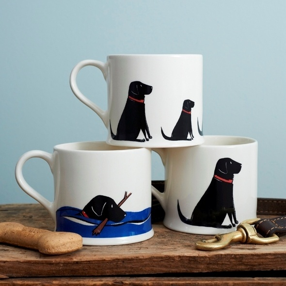 Set of 3 Black Labrador Mugs