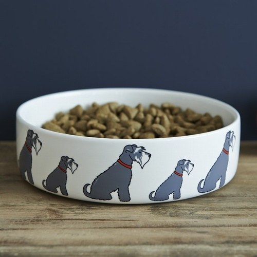 Grey Schnauzer Dog Bowl
