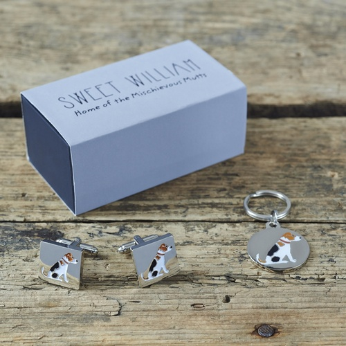 Jack Russell Cufflinks And Dog Tag Set