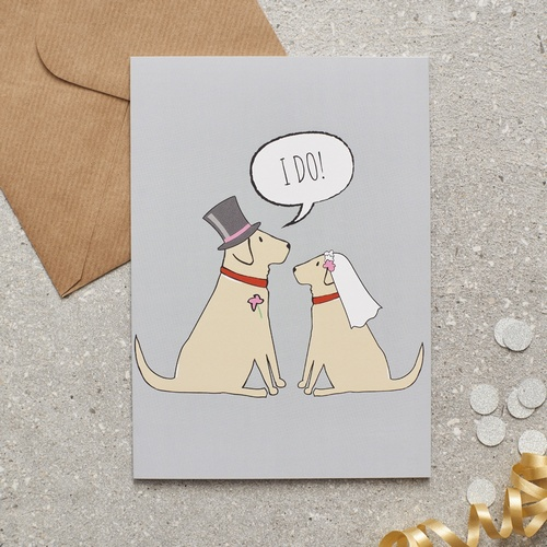 Yellow Labrador Wedding Card