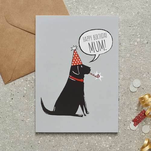 Black Labrador Happy Birthday Mum Card