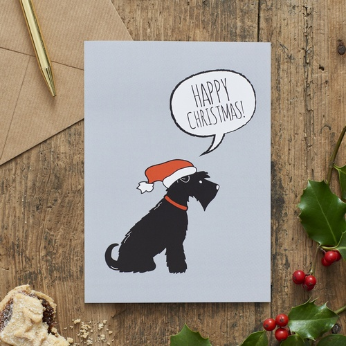 Black Schnauzer Christmas Card