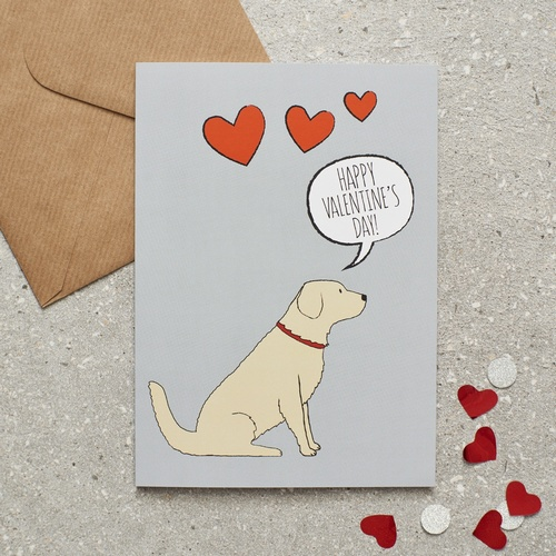 Golden Retriever Valentine's Day Card