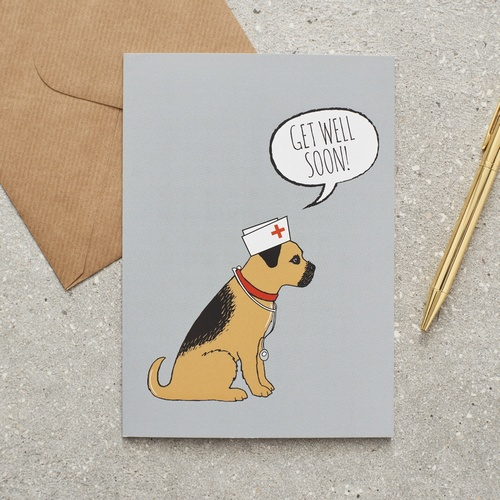 Border Terrier Get Well Soon Card