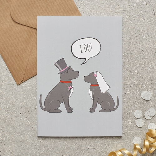 Staffie Wedding Card