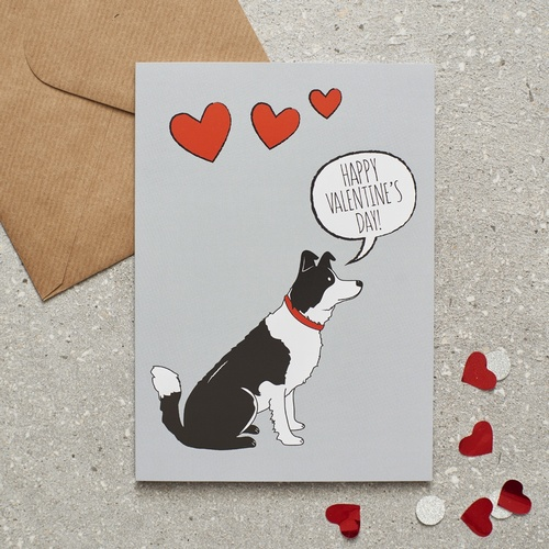 Border Collie Valentine's Day Card
