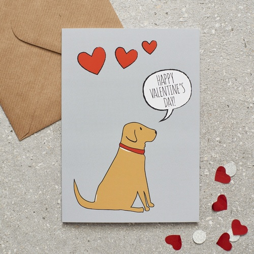 Fox Red Labrador Valentine's Day Card
