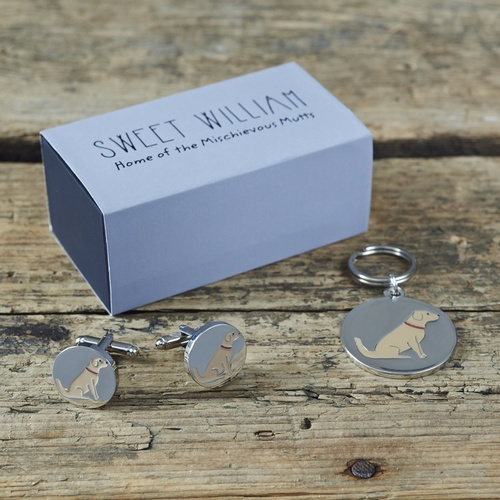 Golden Retriever Cufflinks and Dog Tag Set