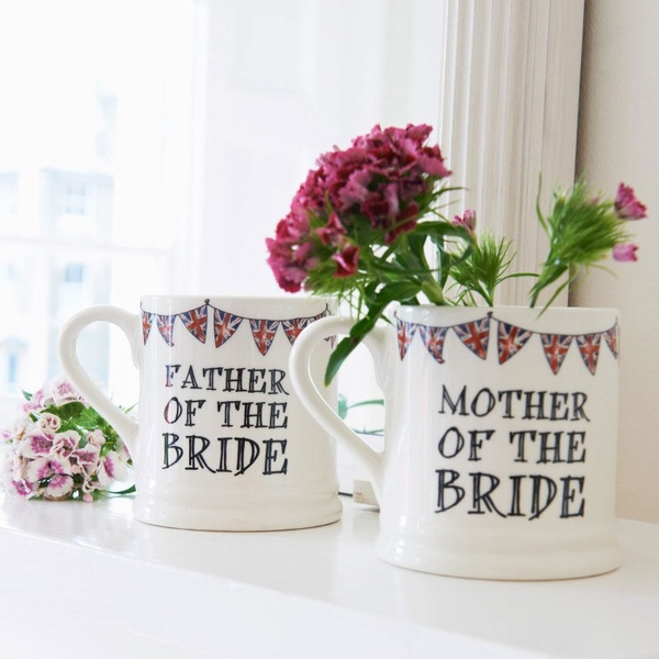 Father & Mother of the Bride mugs , Wedding Bells ,