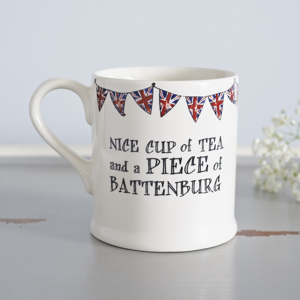 Nice piece of battenburg mug , Quintessentially British ,
