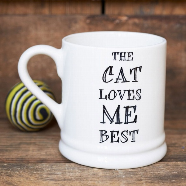The cat loves me best mug , Mutts & Moggies > Mugs ,