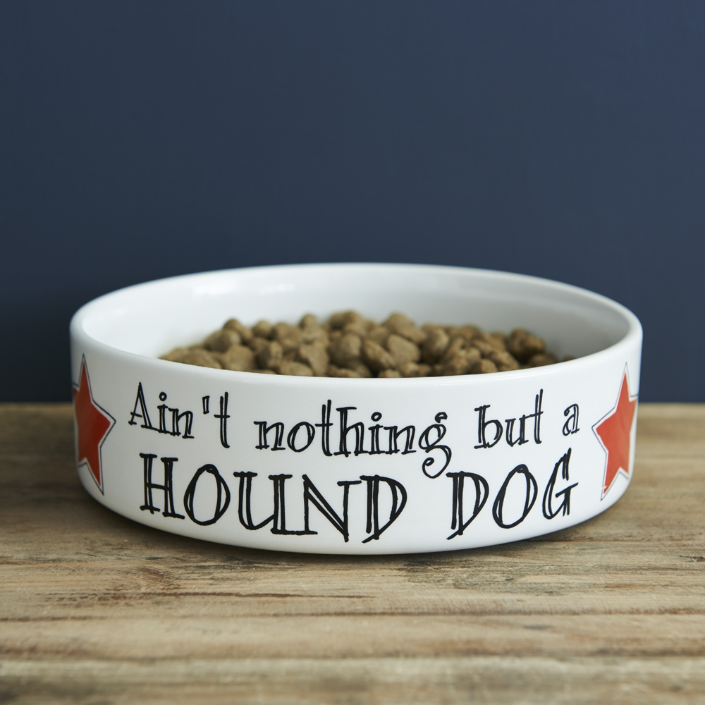 Ain't nothing but a hound dog - dog bowl , Mutts & Moggies > Dog bowls ,