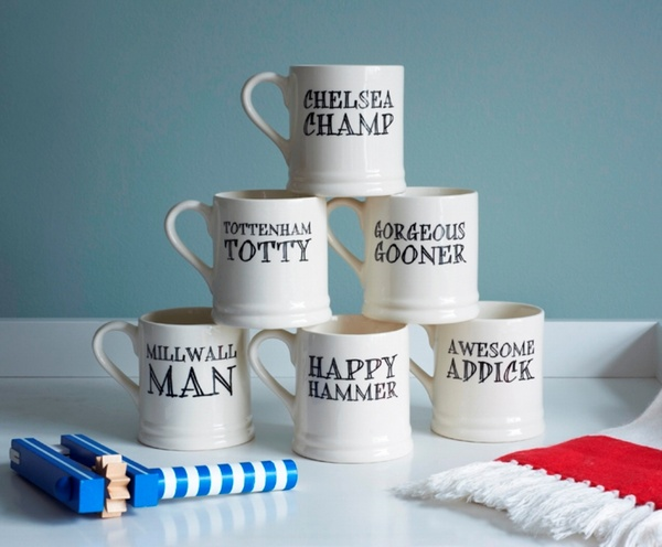 Football Fan Mugs - Arsenal, Charlton, Chelsea, Millwall, Tottenham, West Ham mugs