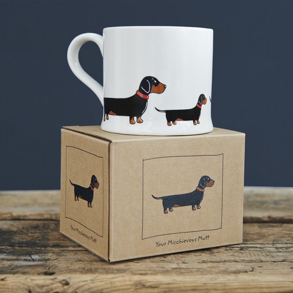 Dachshund Sausage Dog mug and gift box
