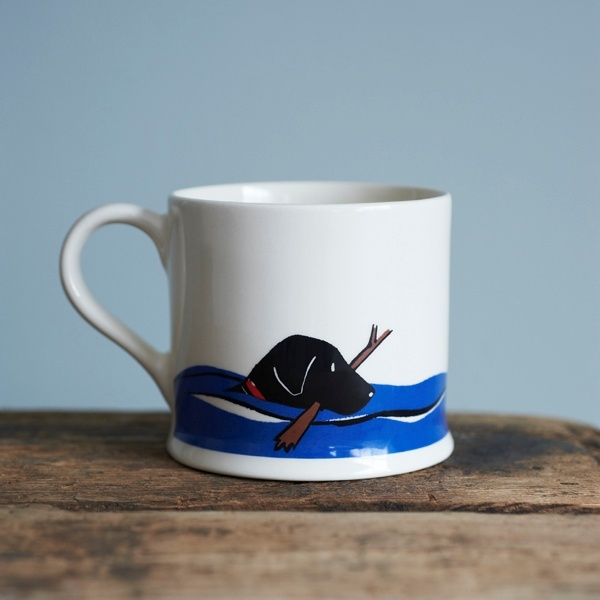 Black Labrador Swimming Mug , Mischievous Mutts , Black Labrador