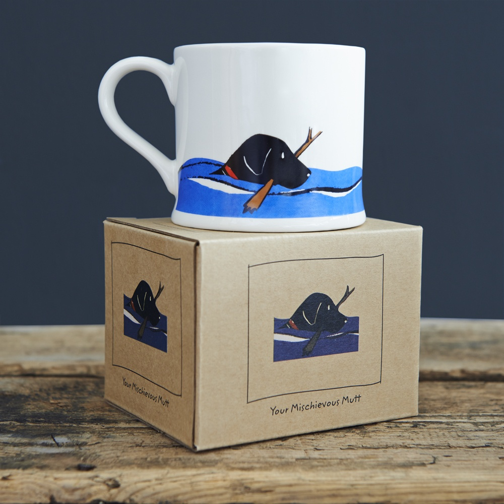 Black Labrador Lab swimming mug and gift box