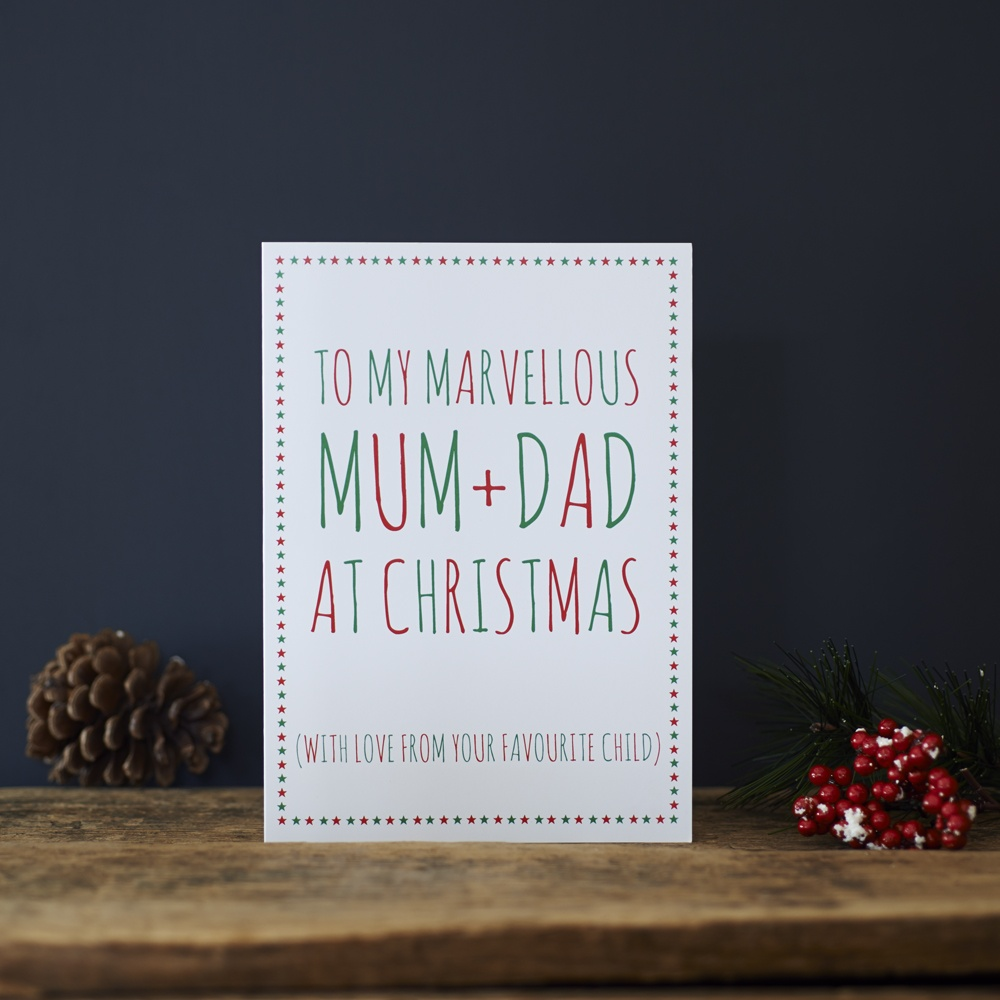 Mum and Dad Christmas Card love from your favourite child , Greeting Cards ,