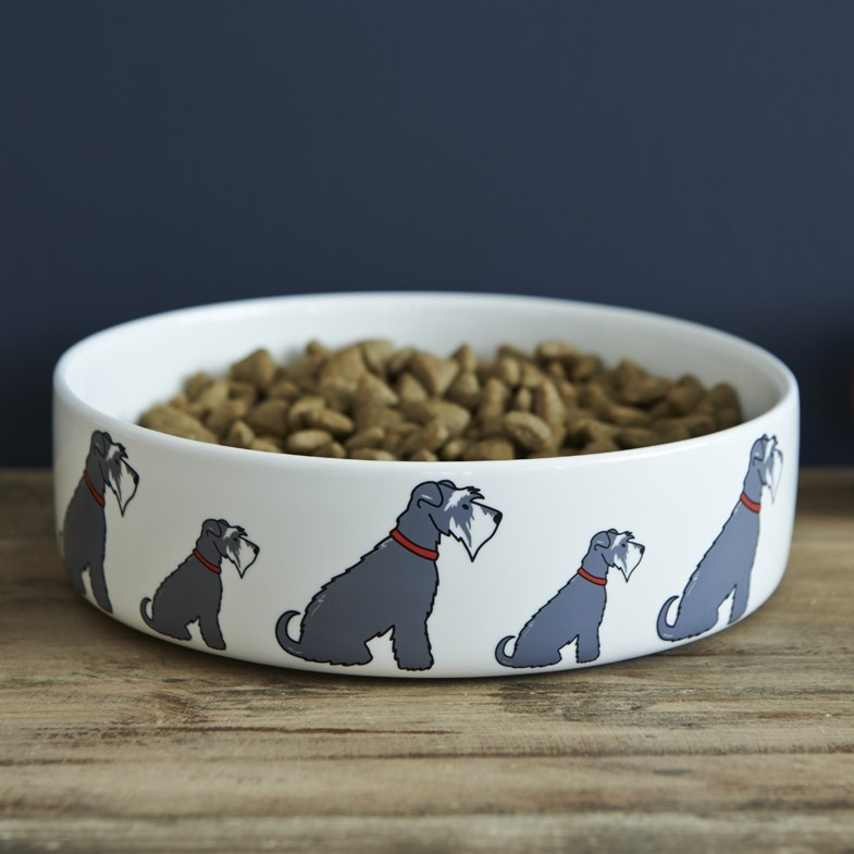 Grey Schnauzer Dog Bowl , Mischievous Mutts > Dog bowls , Schnauzer