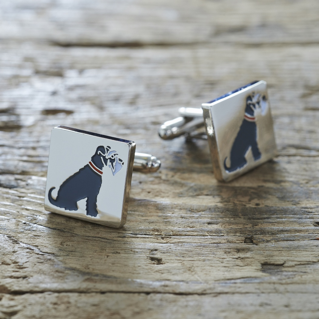 Grey Schnauzer Cufflinks , Mischievous Mutts > Cufflinks , Schnauzer