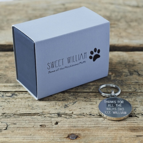Daddy and Me set of schnauzer cufflinks and dog ID name tag with gift box