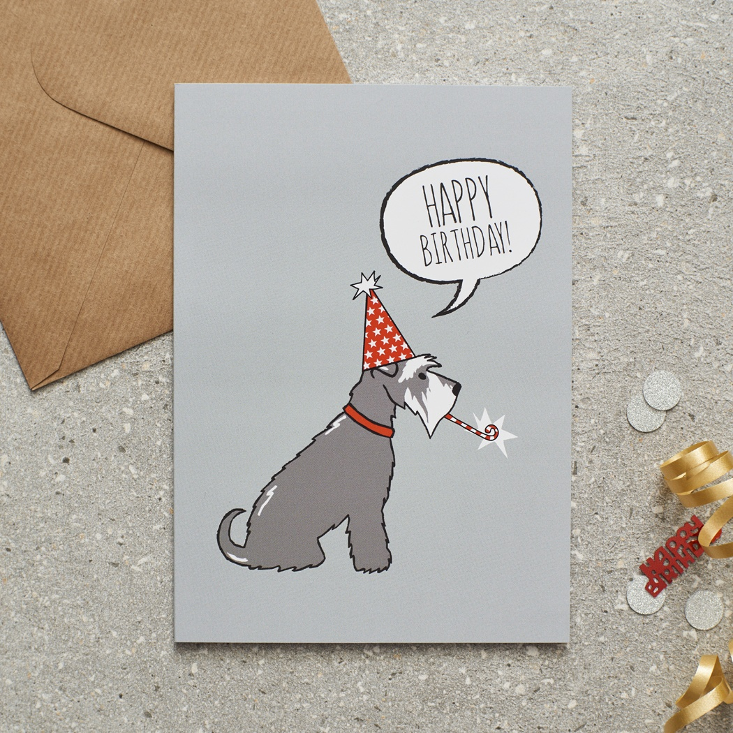 Grey Schnauzer Birthday Card , Mischievous Mutts > Greeting Cards , Schnauzer