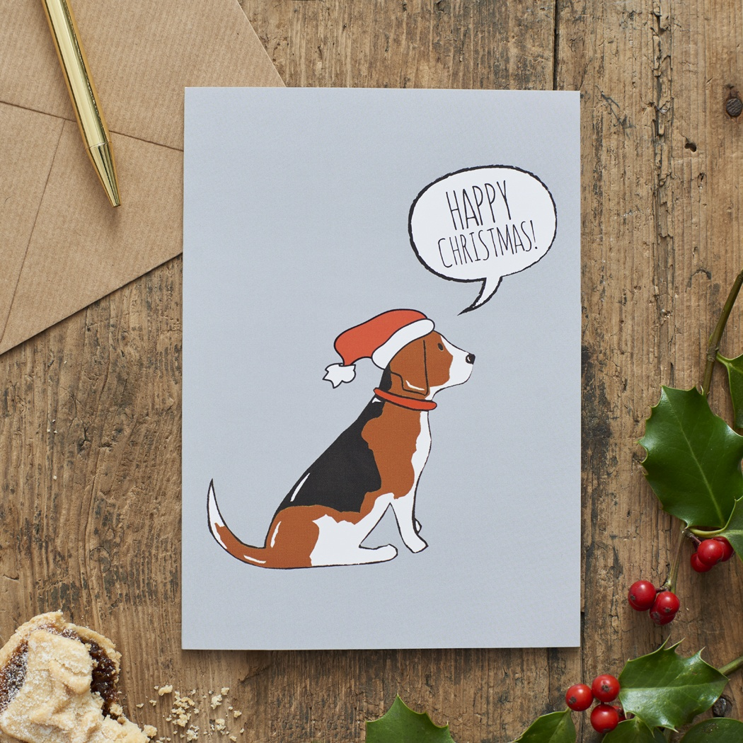 Beagle Christmas Card , Mischievous Mutts > Greeting Cards , Beagle