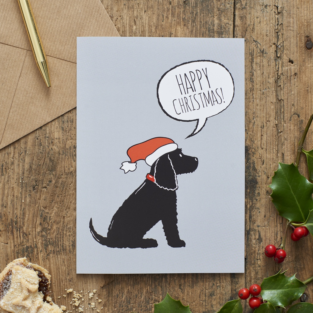 Black Cocker Spaniel Christmas Card , Mischievous Mutts > Greeting Cards , Cocker Spaniel