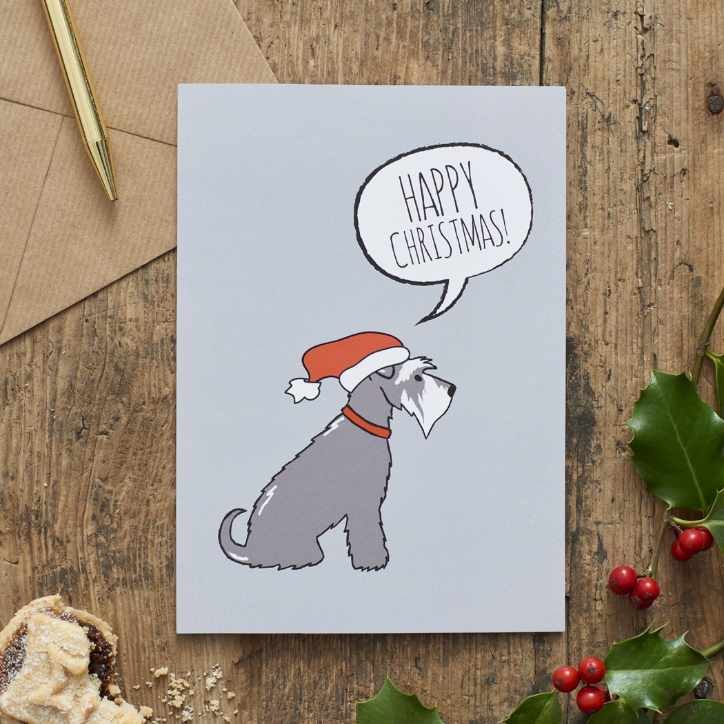 Grey Schnauzer Christmas Card