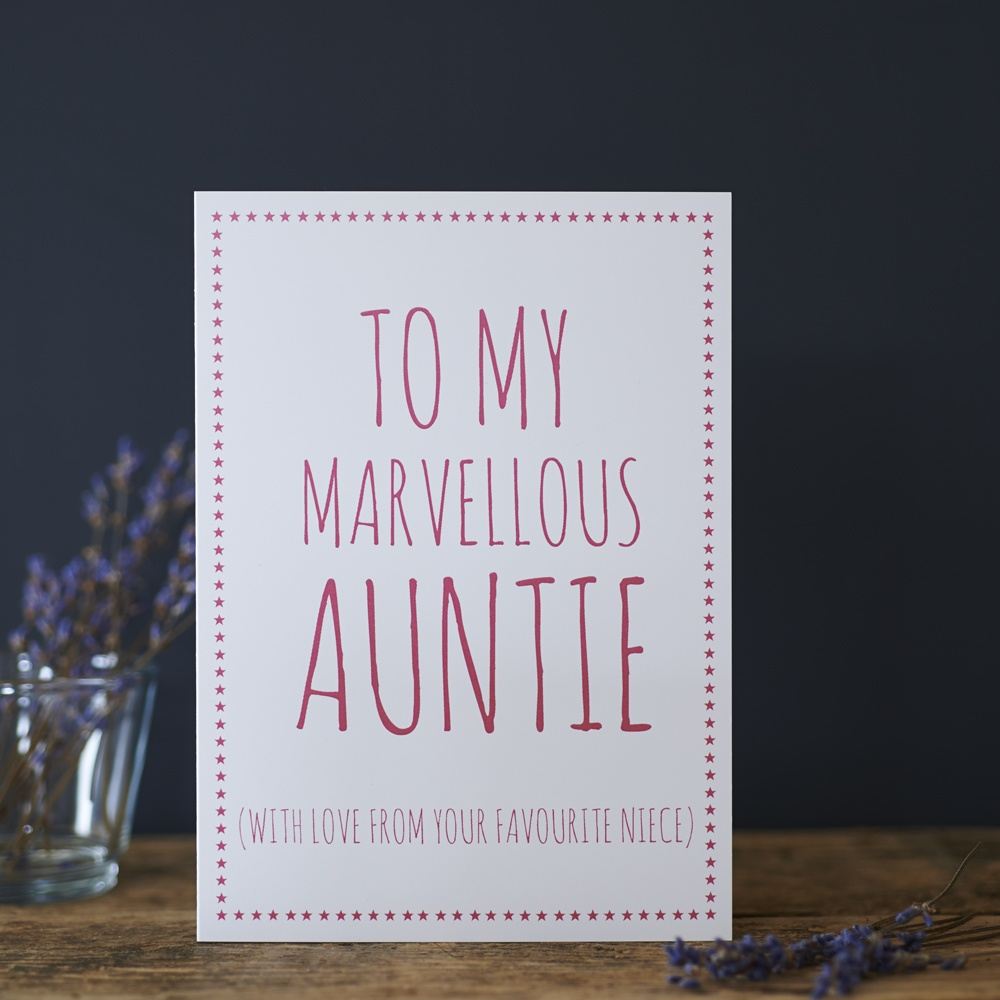 To my marvellous Auntie with love from your favourite niece Greetings Card