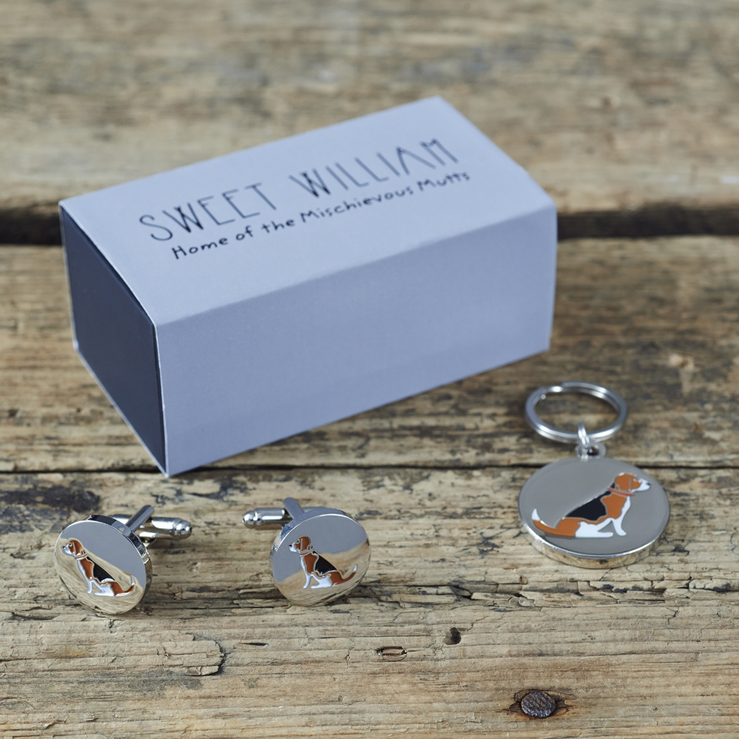 Beagle Cufflinks and Dog Tag Gift Set with Gift Box