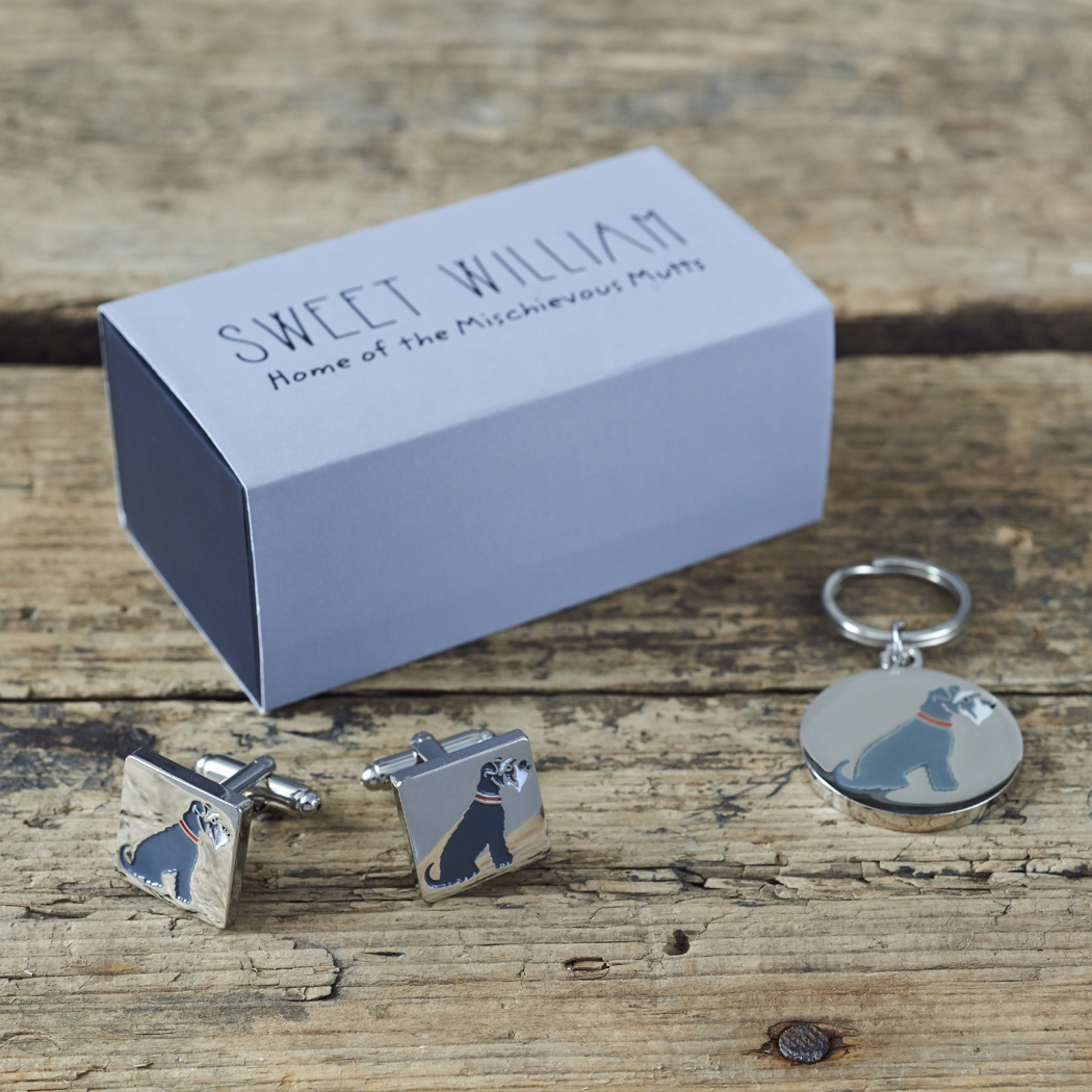 Grey Schnauzer Cufflinks and Tag gift set , Mischievous Mutts > Daddy and Me , Schnauzer