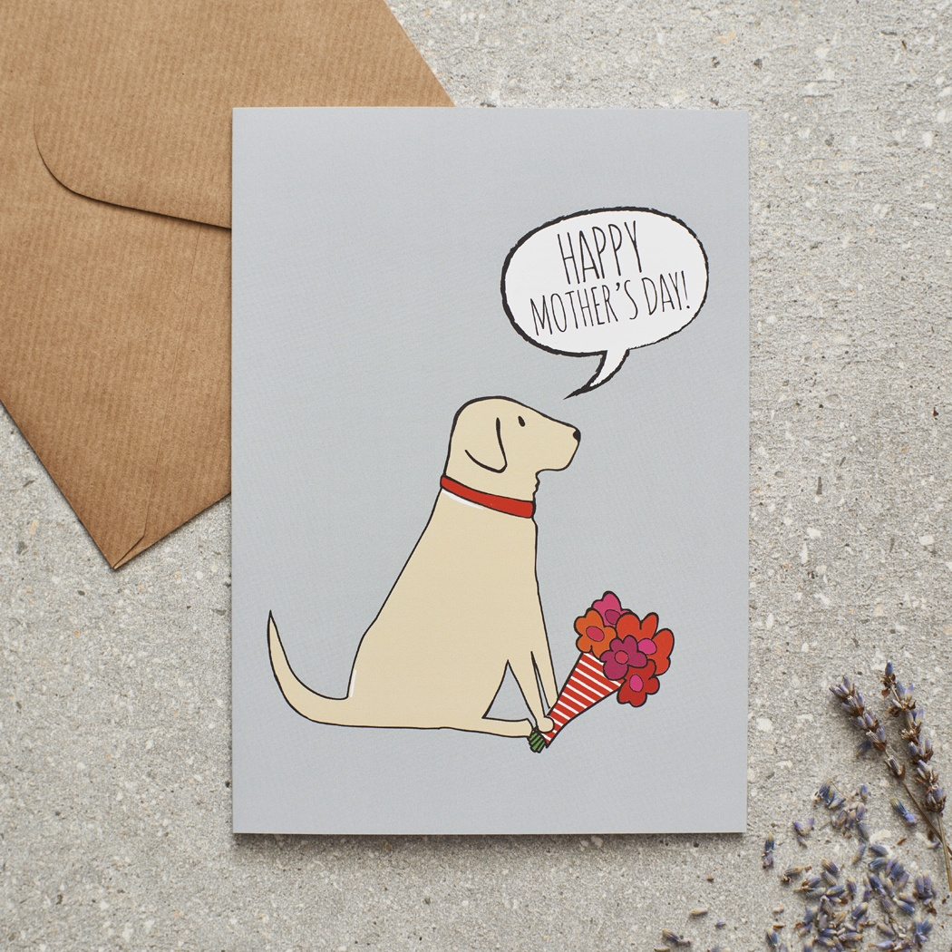 Yellow Labrador Mother's Day Card , Mischievous Mutts > Greeting Cards , Yellow Labrador