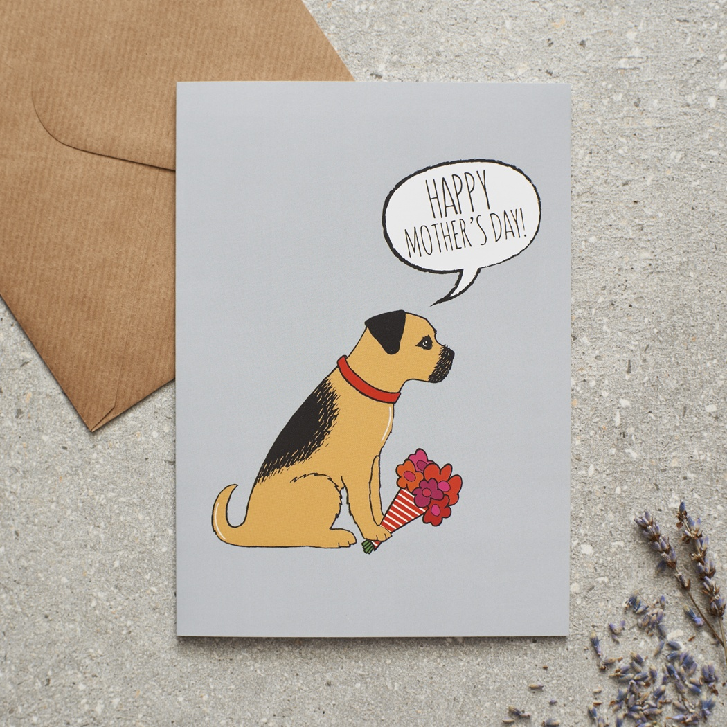 Border Terrier Mother's Day Card , Mischievous Mutts > Greeting Cards , Border Terrier