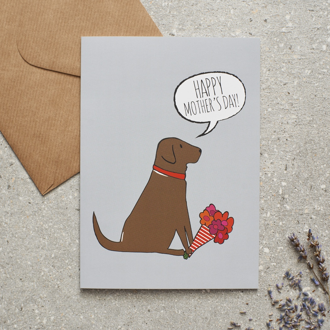 Chocolate Labrador Mother's Day Card , Mischievous Mutts > Greeting Cards , Chocolate Labrador