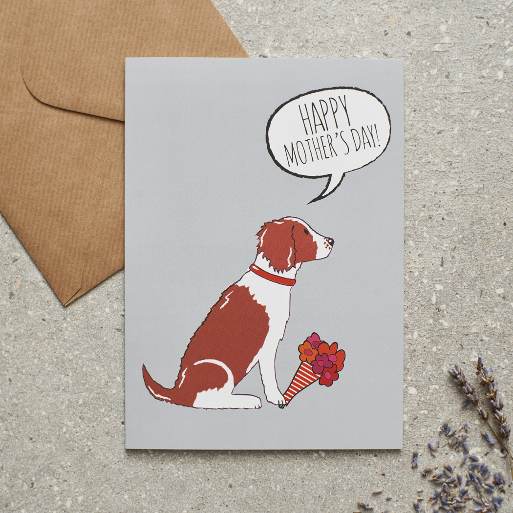 Springer Spaniel (Liver & White) Mother's Day Card , Mischievous Mutts > Greeting Cards , Springer Spaniel
