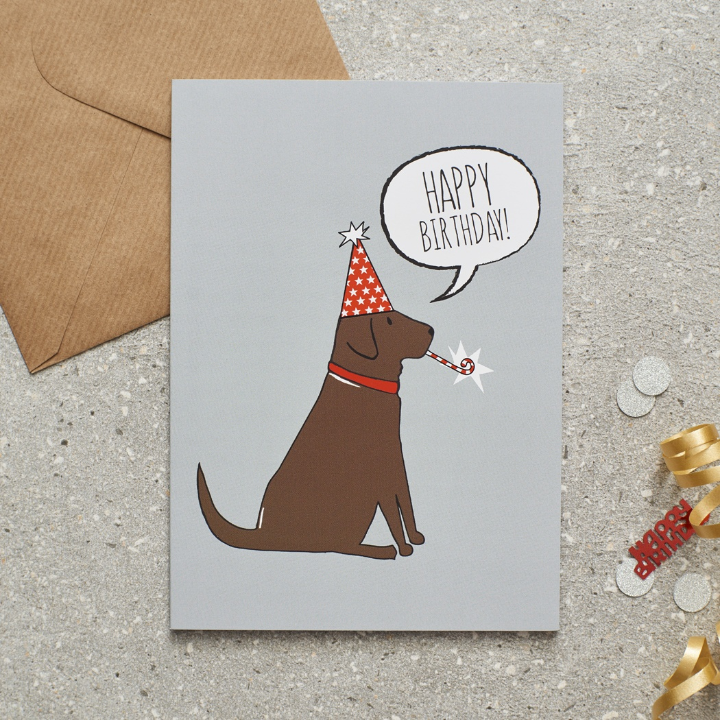 Chocolate Labrador Birthday Card , Mischievous Mutts > Greeting Cards , Chocolate Labrador