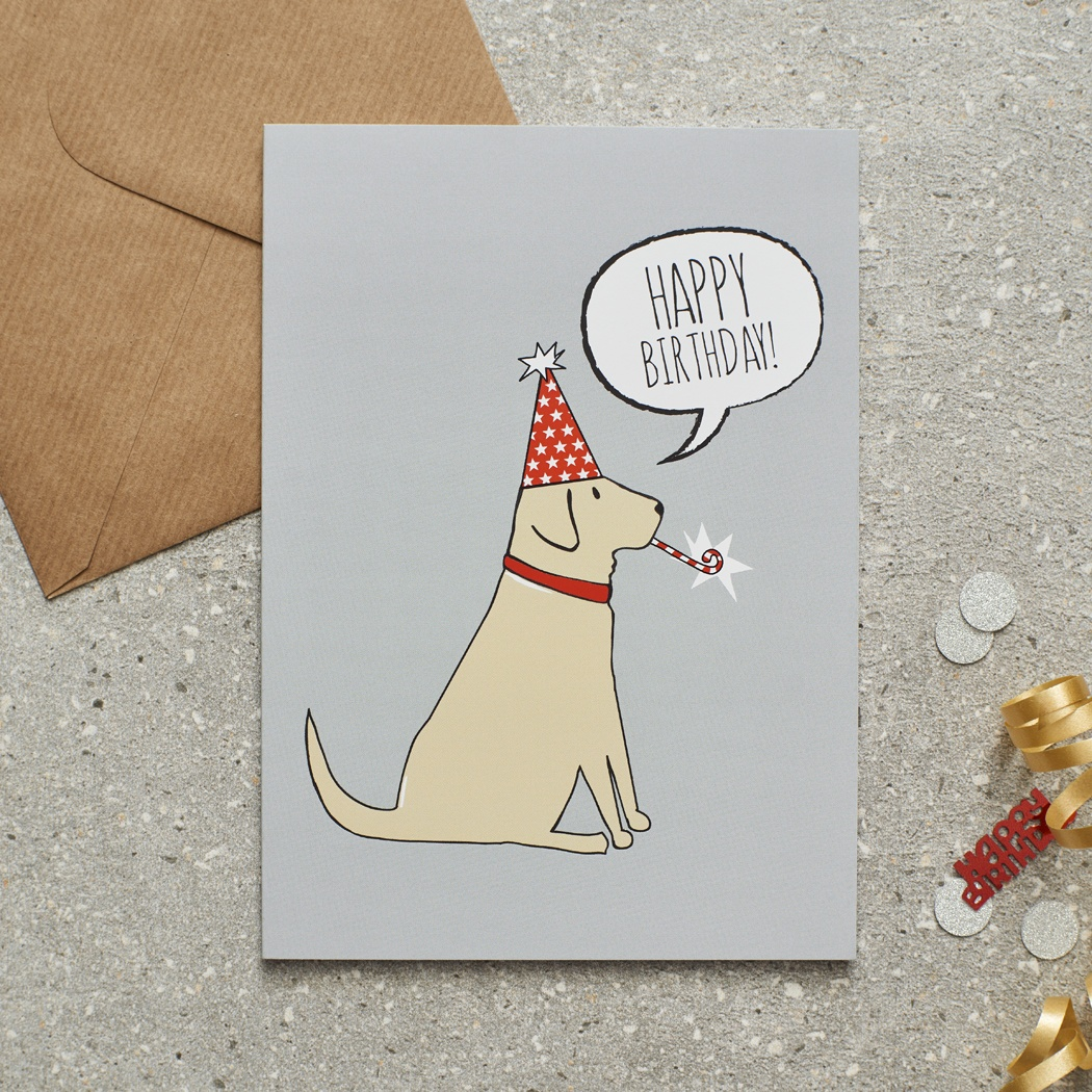 Yellow Labrador Birthday Card , Mischievous Mutts > Greeting Cards , Yellow Labrador