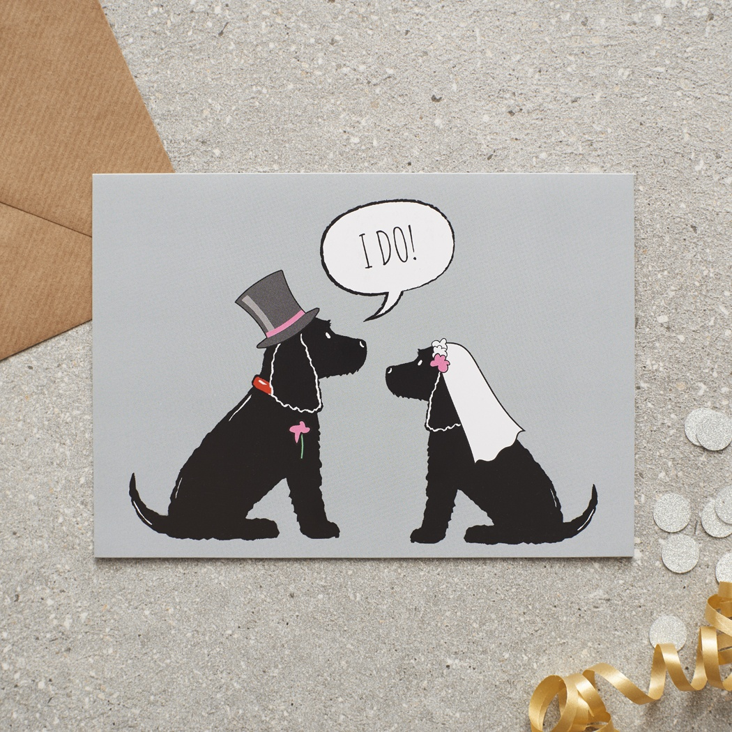 Black Cocker Spaniel Wedding Card