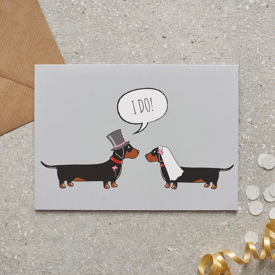 Dachshund / Sausage Dog Wedding Card , Mischievous Mutts > Greeting Cards , Dachshund