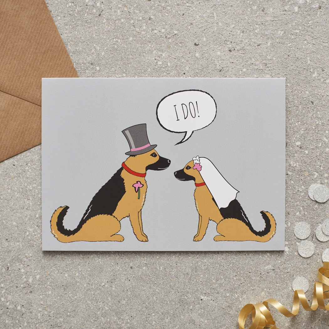 German Shepherd Wedding Card , Mischievous Mutts > Greeting Cards , German Shepherd