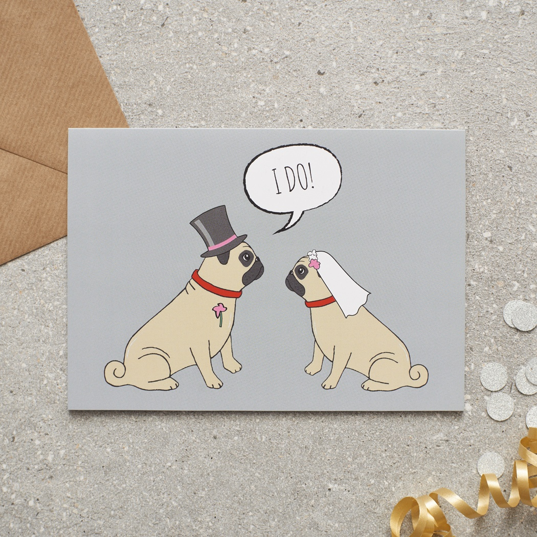 Pug Wedding Card , Mischievous Mutts > Greeting Cards , Pug