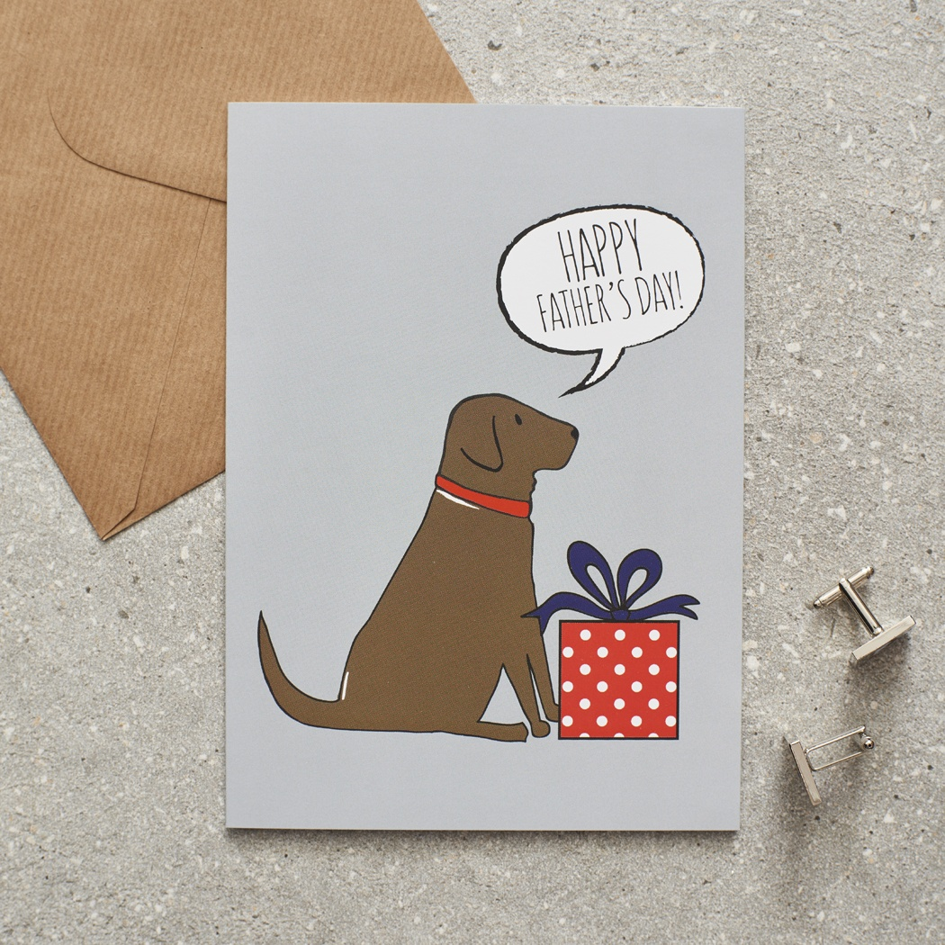 Chocolate Labrador Father's Day Card , Mischievous Mutts > Greeting Cards , Chocolate Labrador