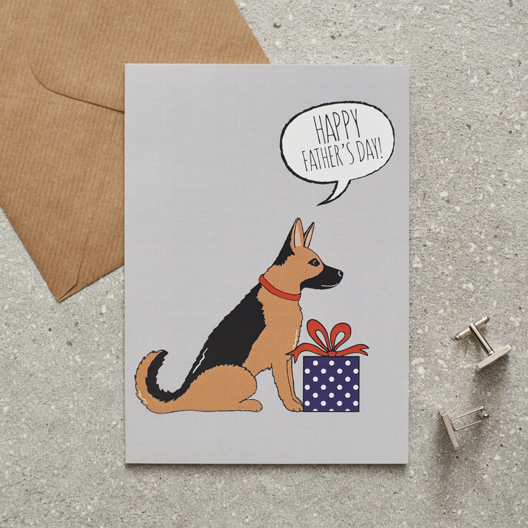 German Shepherd Father's Day Card , Mischievous Mutts > Greeting Cards , German Shepherd