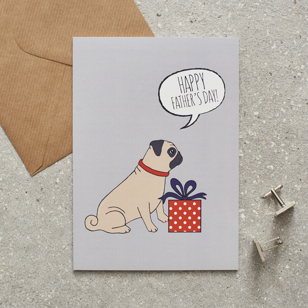 Pug Father's Day Card , Mischievous Mutts > Greeting Cards , Pug