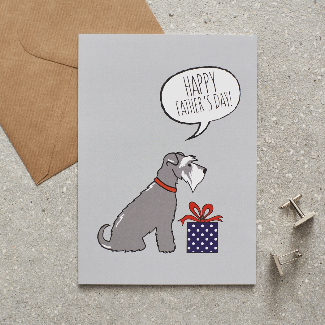 Grey Schnauzer Father's Day Card , Mischievous Mutts > Greeting Cards , Schnauzer