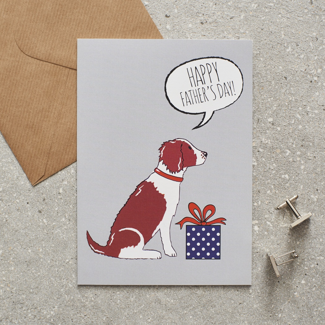 Springer Spaniel (Liver & White) Father's Day Card , Mischievous Mutts > Greeting Cards , Springer Spaniel