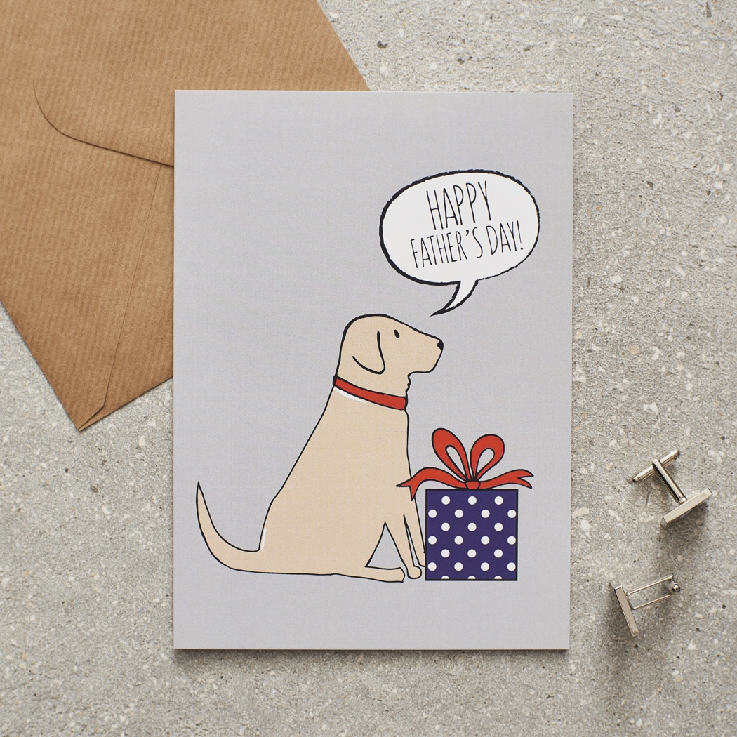 Yellow Labrador Father's Day Card , Mischievous Mutts > Greeting Cards , Yellow Labrador