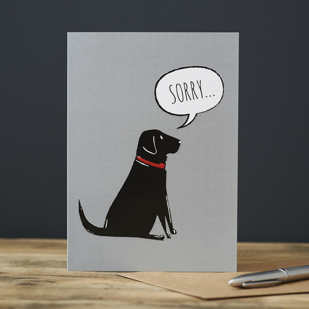 Black Labrador Sorry Card , Mischievous Mutts > Greeting Cards , Black Labrador