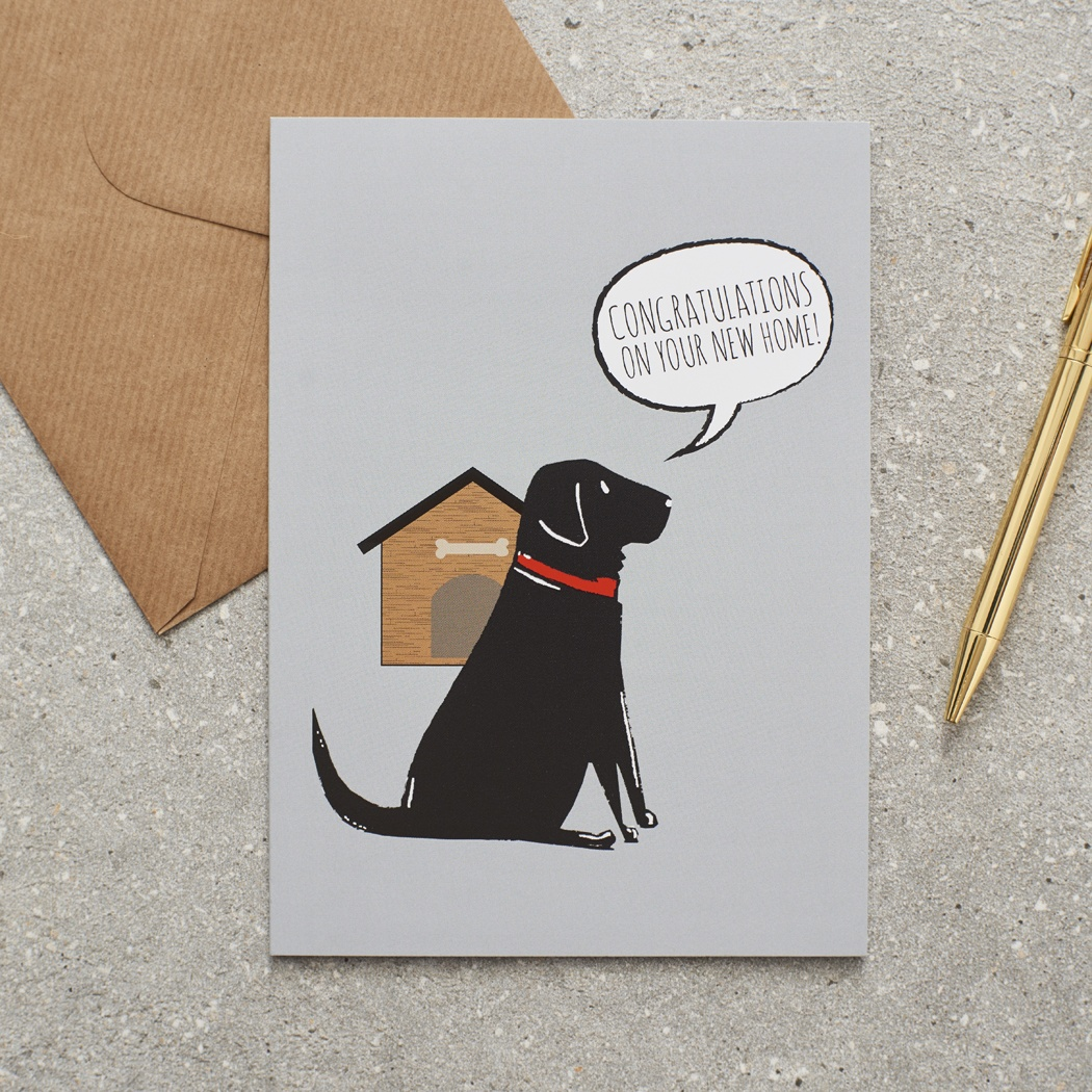 Black Labrador New Home Card , Mischievous Mutts > Greeting Cards , Black Labrador