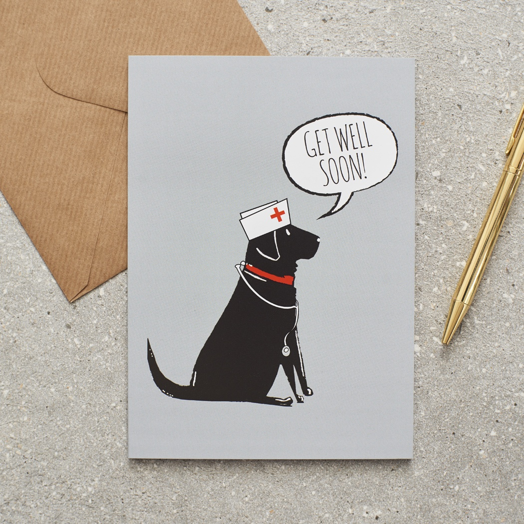 Black Labrador Get Well Card , Mischievous Mutts > Greeting Cards , Black Labrador